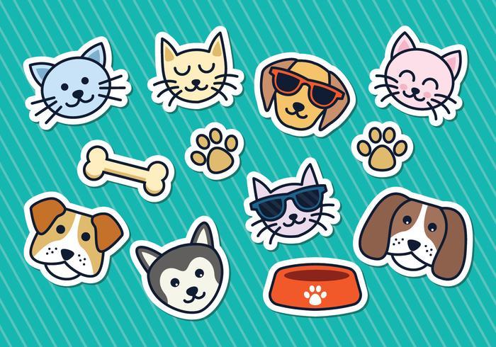 Gato e cão adesivos vector