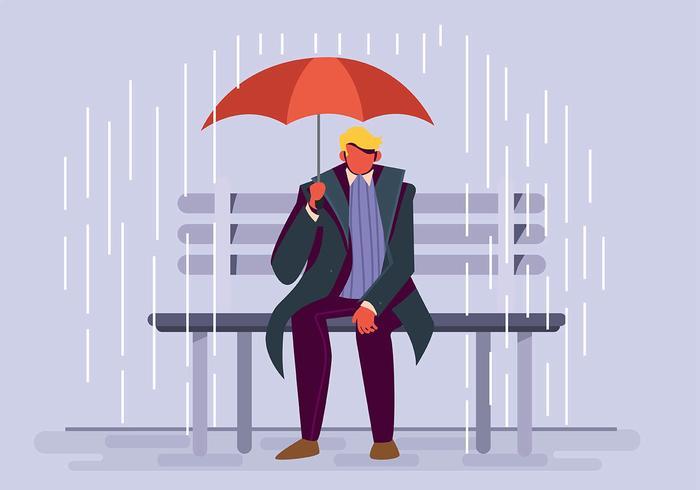 Niño, tenencia, paraguas