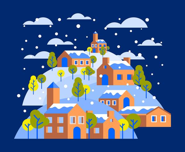 Ilustración de la aldea de invierno