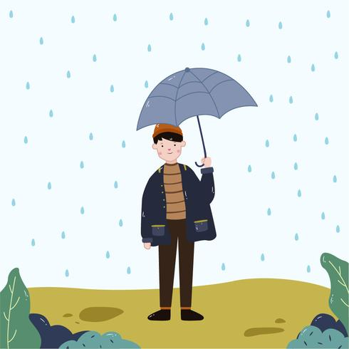 Niño sosteniendo paraguas vector