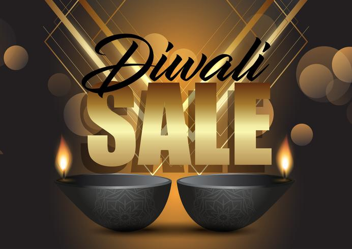 Fondo di vendita di Diwali con lampade ad olio
