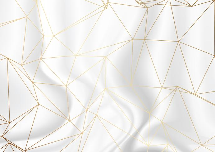 Gold low poly design on silver marble texture background