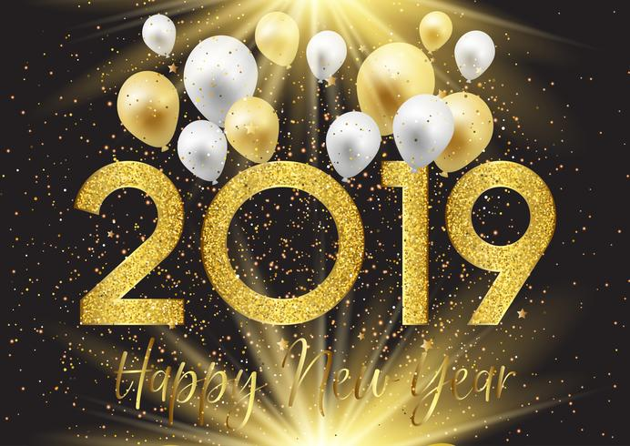 Guten Rutsch ins Neue Jahr-Hintergrund mit Ballonen und Funkeln vektor