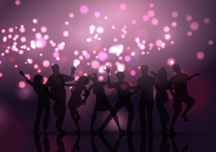 Party crowd on bokeh lights background  vector