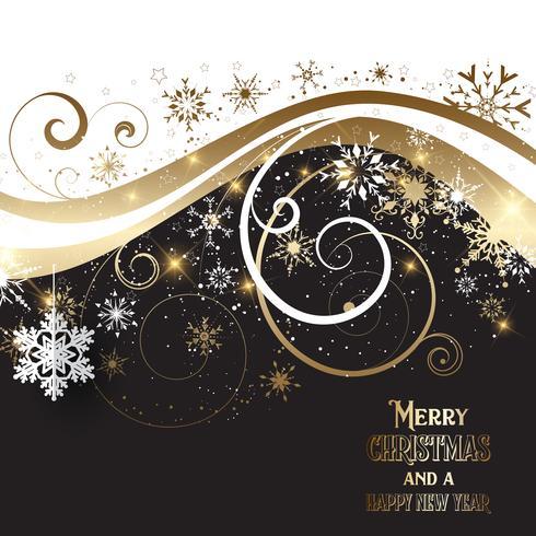 Elegante fondo dorado y negro de navidad. vector