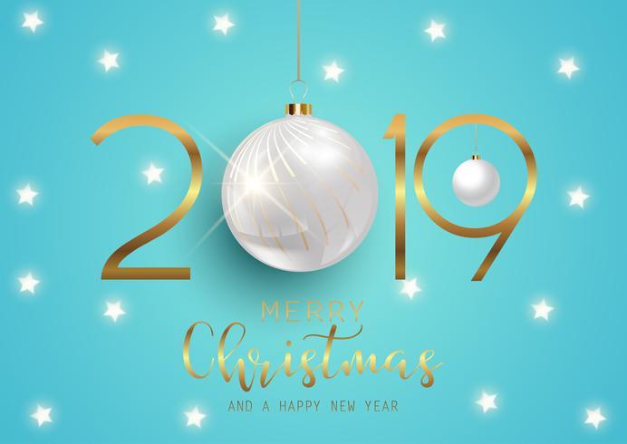 Feliz año nuevo fondo con adornos colgantes