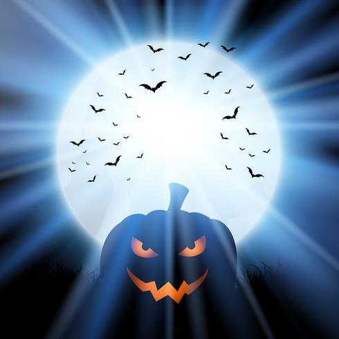 Calabaza de Halloween contra una luna con murciélagos.