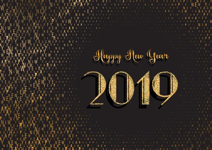 Happy New Year background with glittery and typography design vector