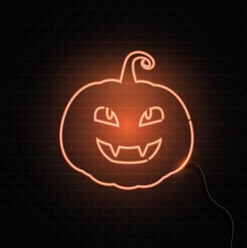 Fondo de Halloween de signo de calabaza de neón