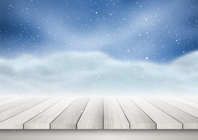 Mesa de madeira, olhando para uma paisagem de neve