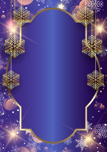 Christmas frame background with hanging snowflakes