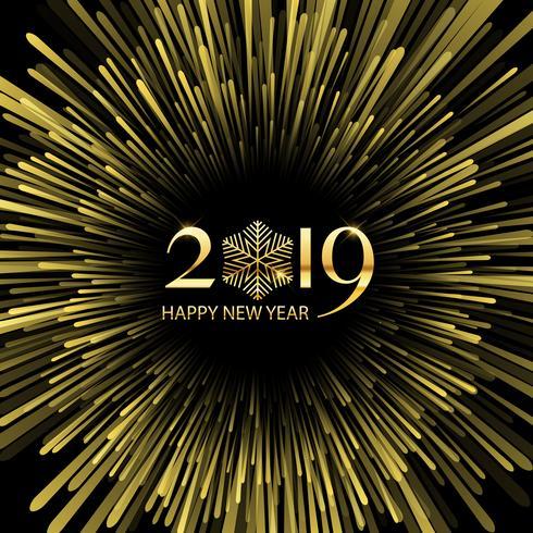 Fondo dello starburst di nuovo anno felice vettore