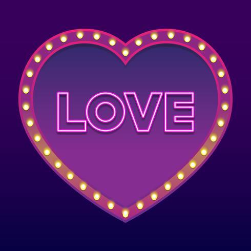 Néon palavra amor feliz dia dos namorados Design elemento