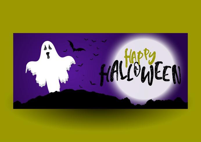 Diseño de banner de Halloween con fantasma