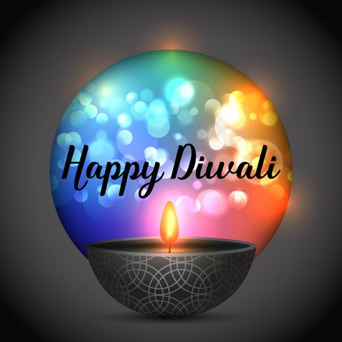 Diwali background with lamp on a bokeh lights background vector