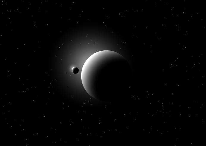 Ruimteachtergrond met fictieve planeten vector