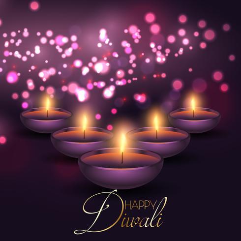 Il fondo di Diwali con le lampade su un bokeh accende il fondo vettore