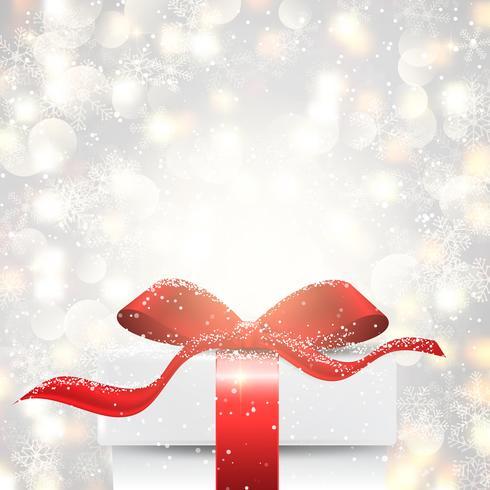 Presente de Natal no fundo de luzes de bokeh