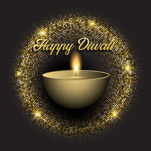 Diwali-Hintergrund mit glittery Lichtern des Goldes