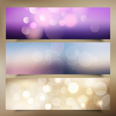 Banners de Natal com design de luzes de bokeh vetor