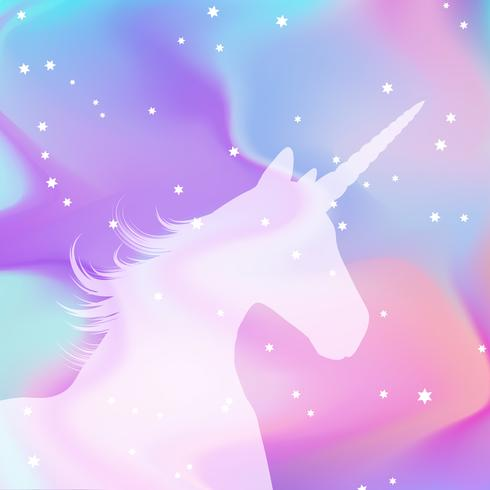 Silhouette of a unicorn on a holographic background vector