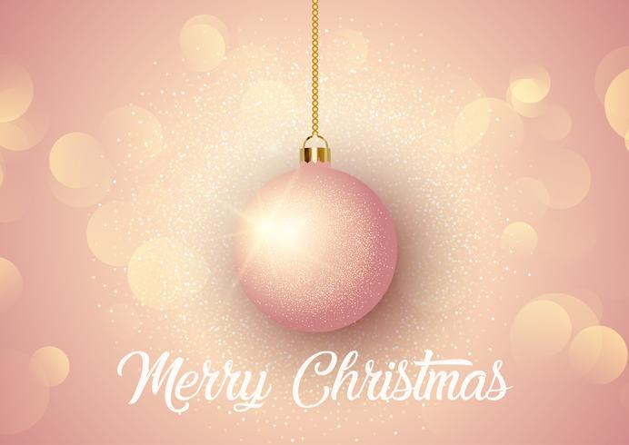 Fundo de Natal de ouro rosa com bauble pendurado vetor