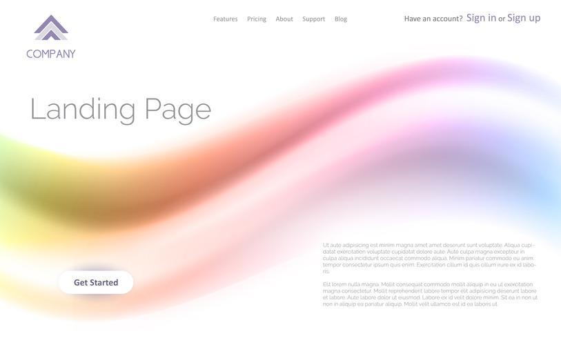 Landing page website template with abstract flow design vector