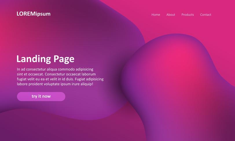 Página de inicio del sitio web con un diseño abstracto.