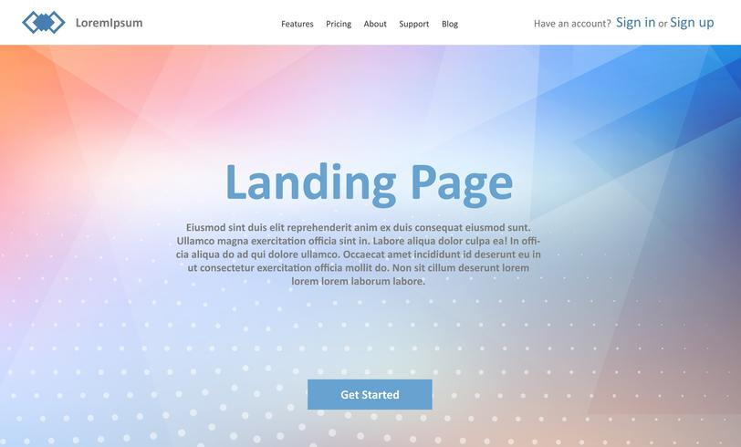 Landing page website template with abstract low poly design vector