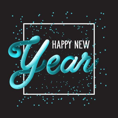 Feliz año nuevo fondo de letras dibujadas a mano