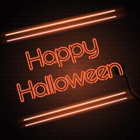 Halloween neon sign background vector