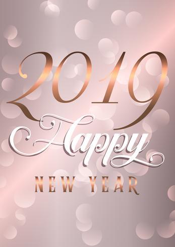 Fond de bonne année avec lettrage or rose décoratif