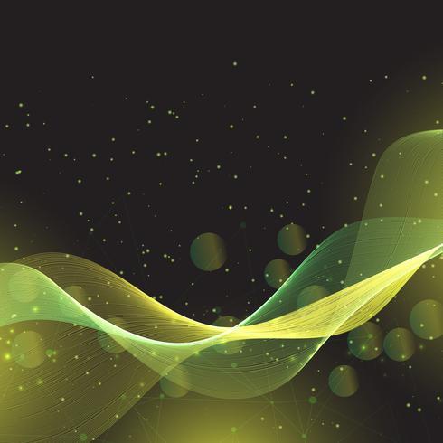 Líneas abstractas que fluyen y diseño de luces bokeh
