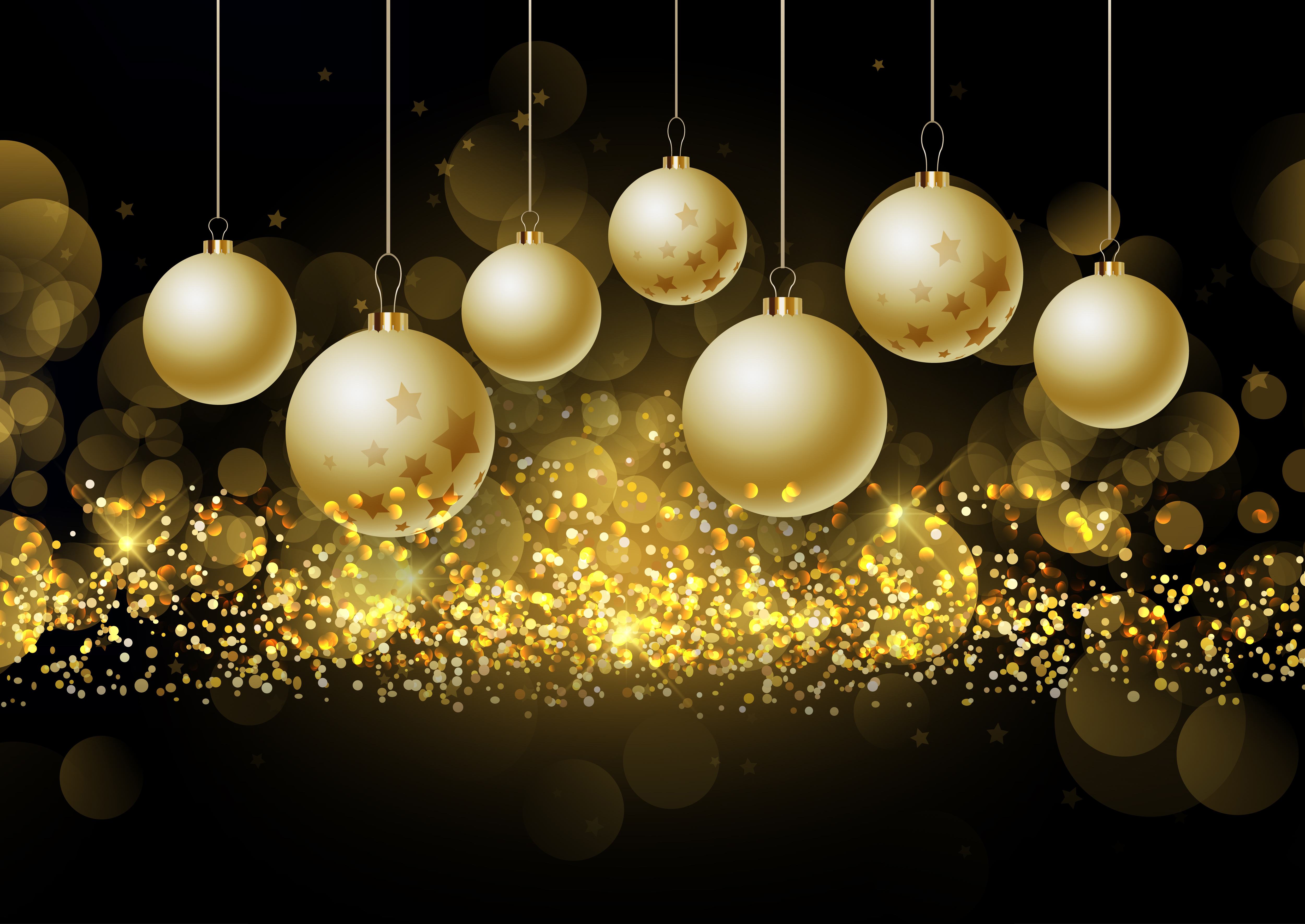 Christmas Baubles On Glittery Gold Background Download
