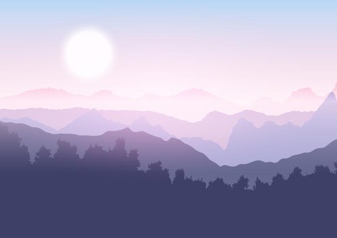 Boom en berglandschap vector