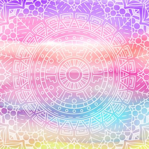 Elegant mandala design på akvarellstruktur