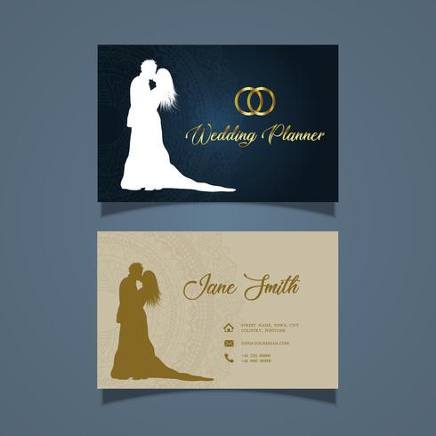 Elegante diseño de tarjetas de visita para un organizador de bodas.