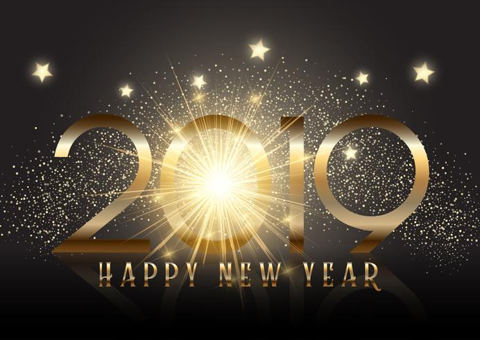 Gold New Year background with sparkle effect  vector