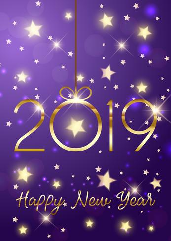 Happy New Year background with gold lettering vector