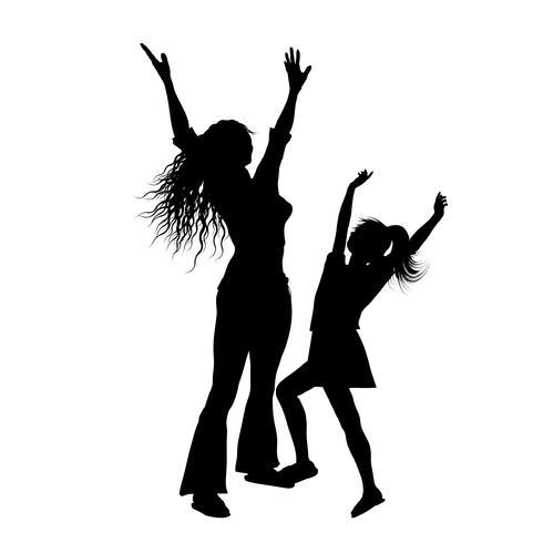 Schattenbild der Mutter und der Tochter mit den Armen hob in Freude an vektor
