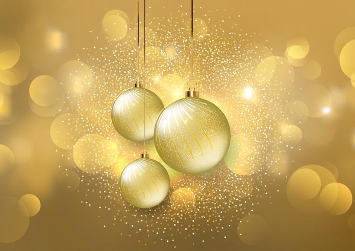 Christmas baubles on a golden bokeh lights background vector