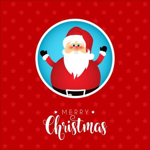 Sfondo di Natale con un simpatico disegno di Babbo Natale vettore