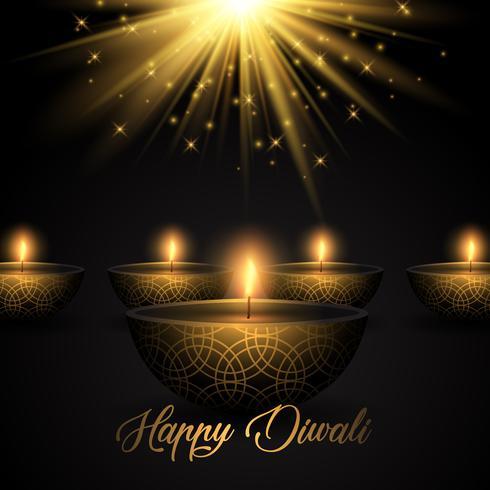 Fond de Diwali avec des lampes à huile sur fond de starburst vecteur