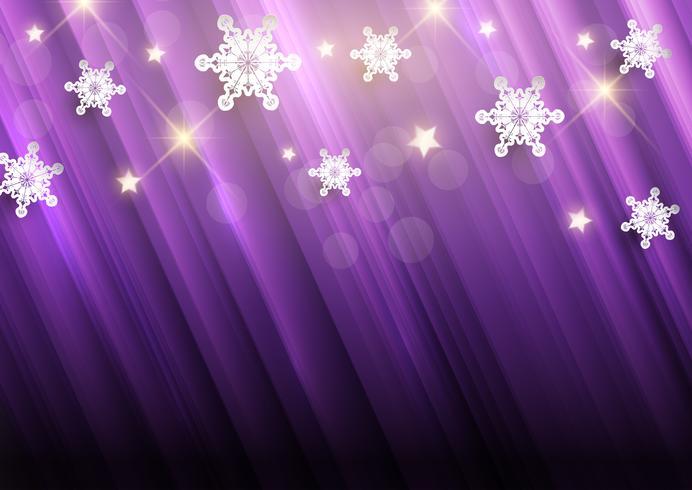 Fundo roxo de Natal com flocos de neve e estrelas vetor