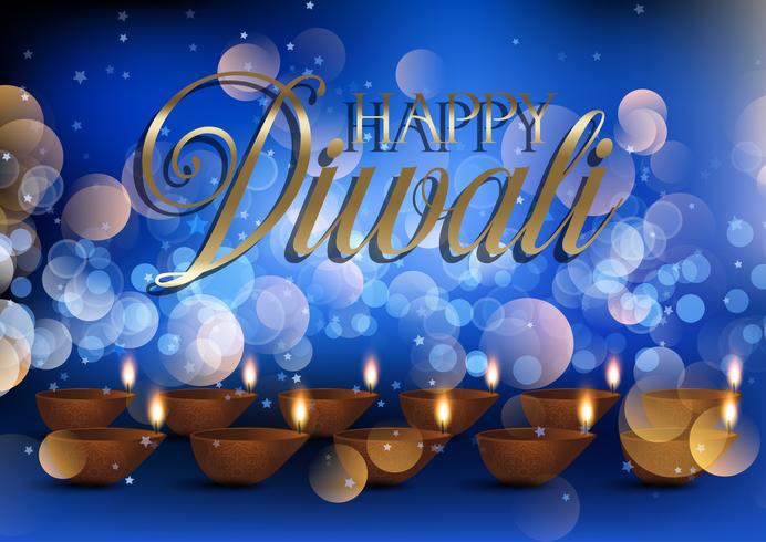Fundo de lâmpada de Diwali com luzes de bokeh
