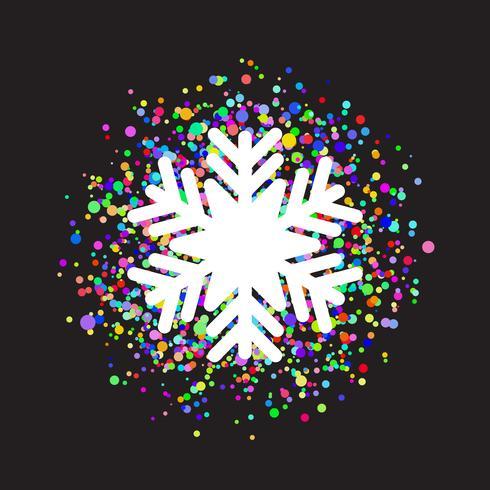 Sneeuwvlok op kleurrijke confetti achtergrond vector