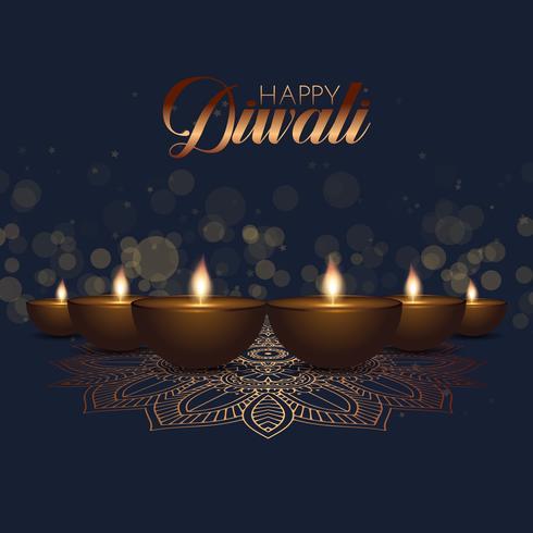Fundo de Diwali com lâmpadas de óleo e luzes de bokeh