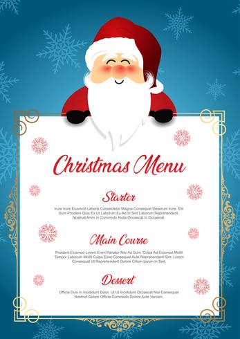 Christmas menu with cute Santa