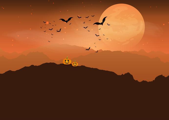 Calabaza de Halloween en paisaje espeluznante