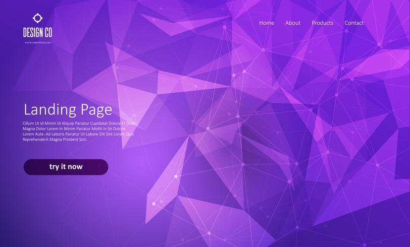 Pagina di destinazione astratta del sito Web con design di poli basso vettore
